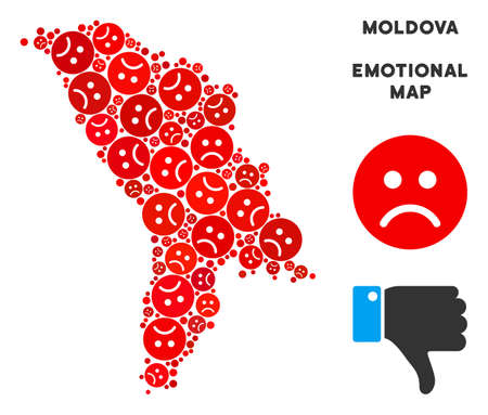 Sorrow Moldova map mosaic of sad emojis in red colors. Negative mood vector concept of crisis regions. Moldova map is constructed from red sad emotion symbols. Abstract territory scheme.