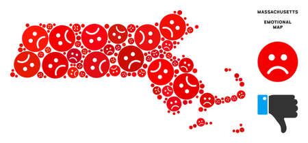 Emotion Massachusetts State map mosaic of sad smileys in red colors. Negative mood vector template of depression regions. Massachusetts State map is formed of red sadness emotion symbols.