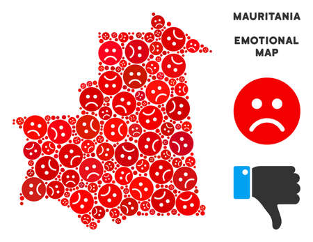 Emotion Mauritania map collage of sad smileys in red colors. Negative mood vector concept of depression regions. Mauritania map is made from red pity emotion symbols. Abstract geographic plan.