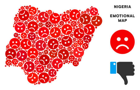 Emotion Nigeria map composition of sad smileys in red colors. Negative mood vector template of depression regions. Nigeria map is designed with red sad emotion symbols. Abstract geographic plan.