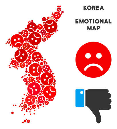 Emotion North and South Korea map composition of sad smileys in red colors. Negative mood vector concept of crisis regions. North and South Korea map is shaped with red sad emotion symbols. Vectores
