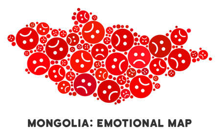 Emotion Mongolia map composition of sad smileys in red colors. Negative mood vector template of depression regions. Mongolia map is made from red sad emotion symbols. Abstract geographic scheme.