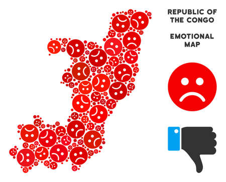 Emotion Republic of the Congo map collage of sad smileys in red colors. Negative mood vector concept of depression regions. Republic of the Congo map is formed of red dolor icons.