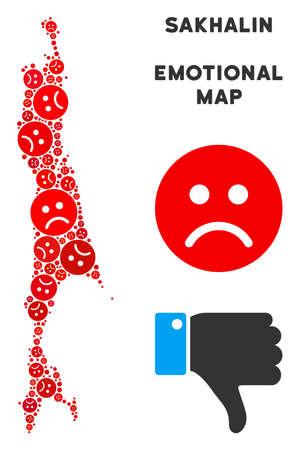 Emotional Sakhalin Island map composition of sad smileys in red colors. Negative mood vector concept of crisis regions. Sakhalin Island map is formed of red sad emotion symbols. Illustration