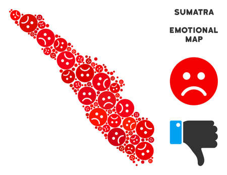 Sorrow Sumatra Island map mosaic of sad emojis in red colors. Negative mood vector concept of depression regions. Sumatra Island map is formed of red sad icons. Abstract territory scheme.