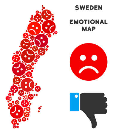 Sorrow Sweden map collage of sad emojis in red colors. Negative mood vector concept of depression regions. Sweden map is constructed from red sad icons. Abstract territory scheme.