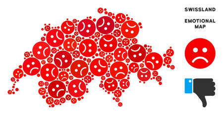 Emotional Swissland map collage of sad smileys in red colors. Negative mood vector concept of crisis regions. Swissland map is formed of red pity emotion symbols. Abstract geographic scheme.