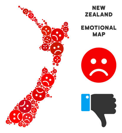 Emotion New Zealand map collage of sad smileys in red colors. Negative mood vector concept of crisis regions. New Zealand map is composed from red sad emotion symbols. Abstract geographic plan.