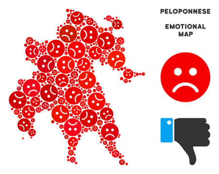 Emotional Peloponnese Peninsula map mosaic of sad emojis in red colors. Negative mood vector template of crisis regions. Peloponnese Peninsula map is composed from red sad icons. Abstract area scheme.