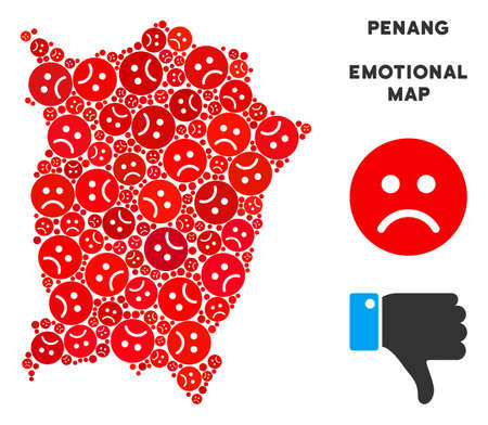 Sorrow Penang Island map collage of sad smileys in red colors. Negative mood vector template of depression regions. Penang Island map is formed of red unhappy icons. Abstract territorial scheme.