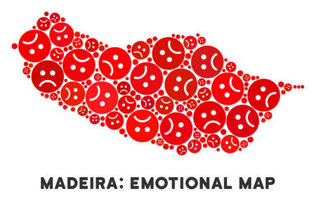 Sorrow Portugal Madeira Island map composition of sad smileys in red colors. Negative mood vector concept of crisis regions. Portugal Madeira Island map is composed from red sorrow icons.