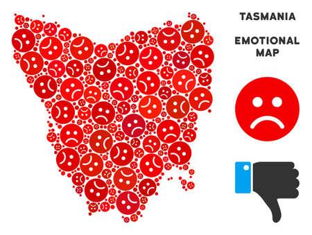 Emotion Tasmania Island map mosaic of sad emojis in red colors. Negative mood vector template of crisis regions. Tasmania Island map is formed of red sad emotion symbols. Abstract area scheme. Illustration