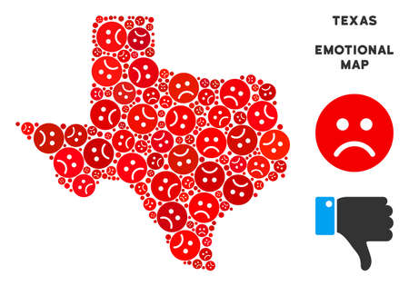 Emotion Texas map composition of sad emojis in red colors. Negative mood vector concept of depression regions. Texas map is organized from red pity emotion symbols. Abstract territorial plan.