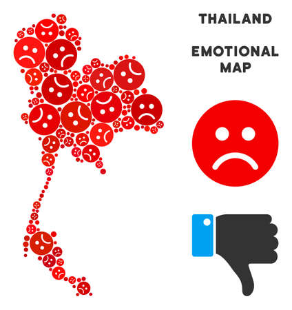 Emotion Thailand map collage of sad emojis in red colors. Negative mood vector template of depression regions. Thailand map is formed of red dolor icons. Abstract territory plan.