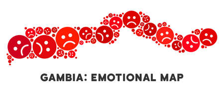Emotional the Gambia map mosaic of sad smileys in red colors. Negative mood vector concept of depression regions. The Gambia map is formed of red sad icons. Abstract territory plan.