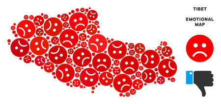 Emotion Tibet Chinese territory map mosaic of sad smileys in red colors. Negative mood vector template of crisis regions. Tibet Chinese territory map is shaped with red sad icons.