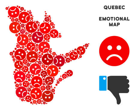 Sorrow Quebec Province map collage of sad smileys in red colors. Negative mood vector template of crisis regions. Quebec Province map is constructed from red sad emotion symbols. Abstract area plan.