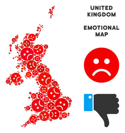 Emotional United Kingdom map collage of sad smileys in red colors. Negative mood vector concept of crisis regions. United Kingdom map is formed of red sad emotion symbols. Abstract area plan.