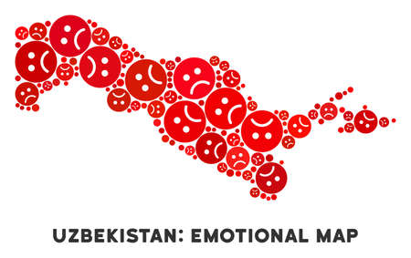 Emotion Uzbekistan map composition of sad emojis in red colors. Negative mood vector concept of depression regions. Uzbekistan map is done with red sad icons. Abstract territory scheme.