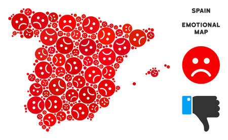 Emotional Spain map composition of sad emojis in red colors. Negative mood vector concept of depression regions. Spain map is formed of red sorrow icons. Abstract area plan.