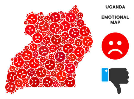 Emotion Uganda map collage of sad smileys in red colors. Negative mood vector template of depression regions. Uganda map is organized from red sad emotion symbols. Abstract territorial scheme. Illustration