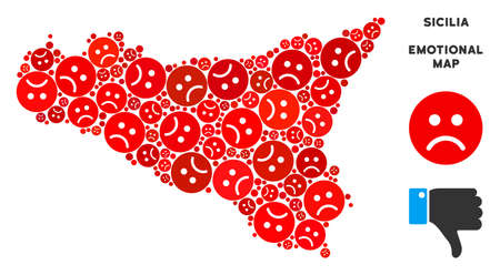 Emotion Sicilia map collage of sad smileys in red colors. Negative mood vector concept of depression regions. Sicilia map is constructed from red sorrow emotion symbols. Abstract territory scheme.