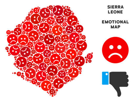 Emotion Sierra Leone map composition of sad emojis in red colors. Negative mood vector concept of crisis regions. Sierra Leone map is organized from red dolor emotion symbols.