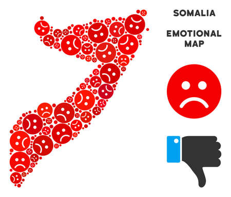 Sorrow Somalia map composition of sad emojis in red colors. Negative mood vector concept of depression regions. Somalia map is done with red sorrow emotion symbols. Abstract territorial plan. Stock Illustratie