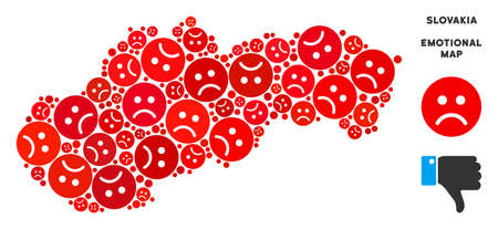Emotion Slovakia map mosaic of sad emojis in red colors. Negative mood vector concept of depression regions. Slovakia map is formed of red dolor emotion symbols. Abstract geographic scheme.