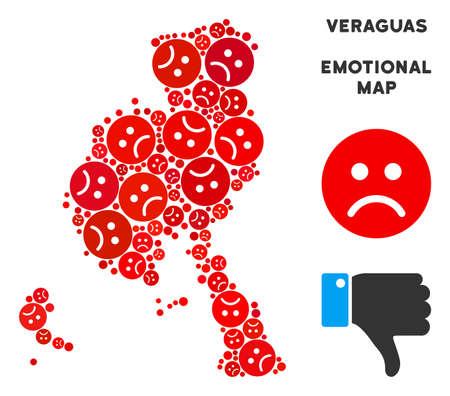 Emotion Veraguas Province map composition of sad emojis in red colors. Negative mood vector concept of depression regions. Veraguas Province map is shaped with red dolor emotion symbols.