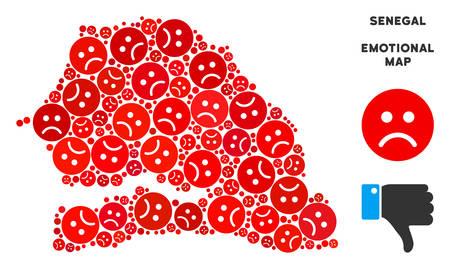 Emotion Senegal Map Composition Of Sad Emojis In Red Colors