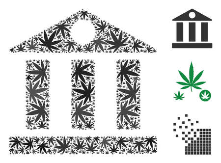 Bank building composition of hemp leaves in various sizes and color variations. Vector flat hemp symbols are united into bank building composition. Narcotic vector illustration.