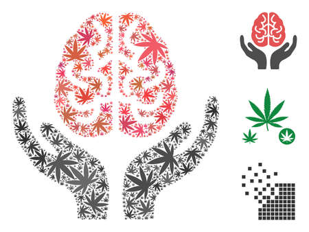 Brain care hands composition of cannabis leaves in variable sizes and color shades. Vector flat grass leaves are organized into brain care hands collage. Herbal vector design concept.