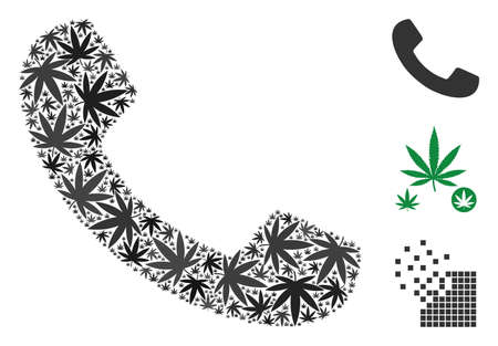 Call composition of hemp leaves in various sizes and color tints. Vector flat cannabis leaves are composed into call collage. Narcotic vector design concept.