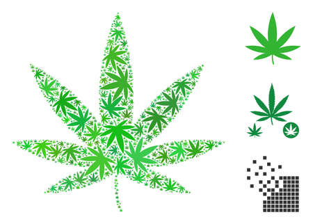 Cannabis collage of weed leaves in various sizes and color tinges. Vector flat weed icons are united into cannabis collage. Addiction vector design concept.