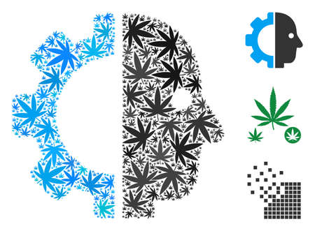 Cyborg head composition of cannabis leaves in variable sizes and color shades. Vector flat cannabis objects are combined into cyborg head composition. Addiction vector design concept. Stock Illustratie