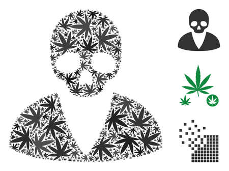 Death man collage of hemp leaves in variable sizes and color tints. Vector flat hemp leaves are united into death man collage. Drugs vector illustration.
