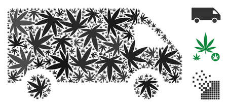 Delivery car collage of weed leaves in different sizes and color variations. Vector flat weed icons are organized into delivery car illustration. Addiction vector illustration.