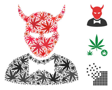 Devil composition of weed leaves in variable sizes and color shades. Vector flat weed leaves are united into devil composition. Drugs vector illustration. Ilustração