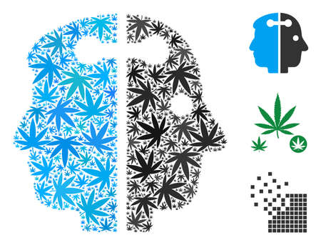 Dual head connection collage of cannabis leaves in different sizes and color tinges. Vector flat weed leaves are composed into dual head connection composition. Addiction vector design concept.