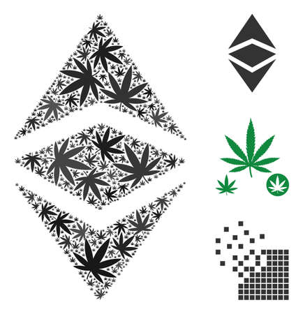 Ethereum classic mosaic of hemp leaves in variable sizes and color tinges. Vector flat hemp leaves are organized into Ethereum classic figure. Narcotic vector design concept.