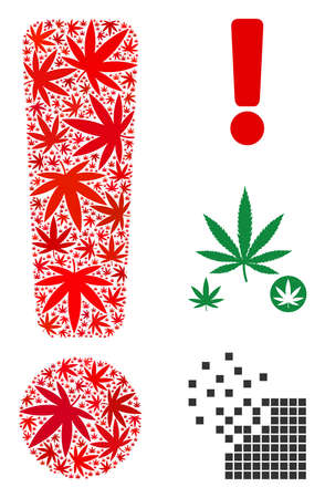 Exclamation sign composition of hemp leaves in various sizes and color variations. Vector flat hemp symbols are organized into exclamation sign composition. Drugs vector illustration.