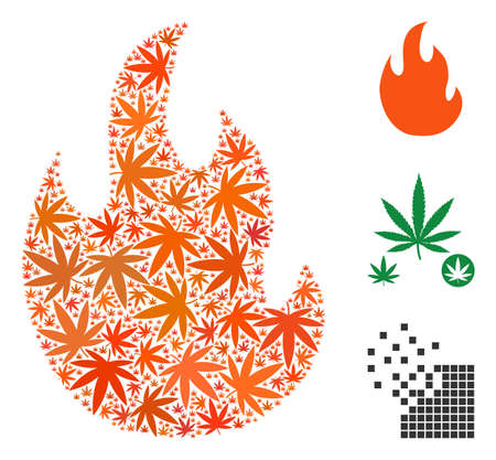 Fire flame mosaic of weed leaves in various sizes and color shades. Vector flat cannabis leaves are composed into fire flame illustration. Addiction vector illustration. Illustration