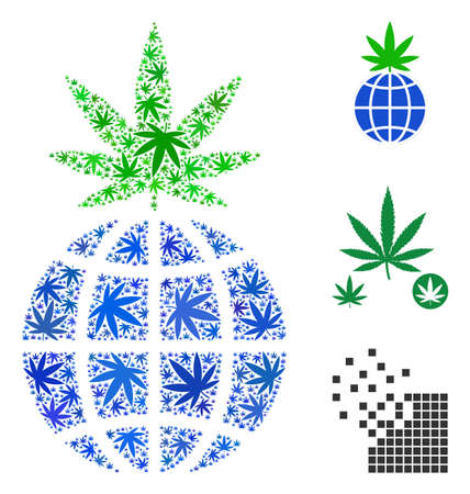 Global cannabis sprout collage of hemp leaves in variable sizes and color variations. Vector flat hemp objects are united into global cannabis sprout collage. Herbal vector illustration.