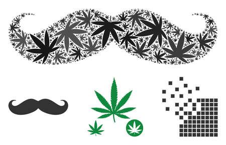 Gentleman moustache mosaïque de feuilles de cannabis de différentes tailles et teintes de couleurs. Les articles de cannabis plats vectoriels sont composés d'une illustration de moustache de gentleman. Illustration vectorielle de stupéfiants.