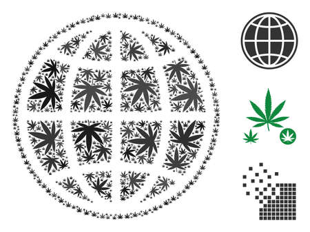 Internet composition of cannabis leaves in various sizes and color tinges. Vector flat cannabis leaves are composed into internet collage. Addiction vector design concept.