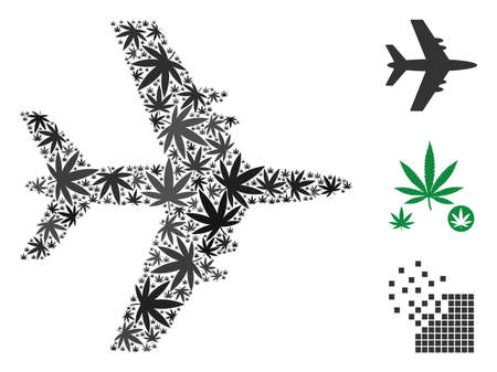 Jet plane composition of cannabis leaves in variable sizes and color hues. Vector flat marijuana leaves are united into jet plane composition. Drugs vector illustration.