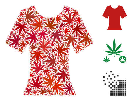 Lady T-shirt collage of weed leaves in variable sizes and color tones. Vector flat weed objects are composed into lady T-shirt collage. Herbal vector illustration.