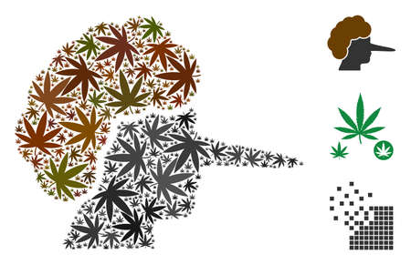Lier collage of marijuana leaves in variable sizes and color tints. Vector flat marijuana leaves are united into lier mosaic. Herbal vector design concept.