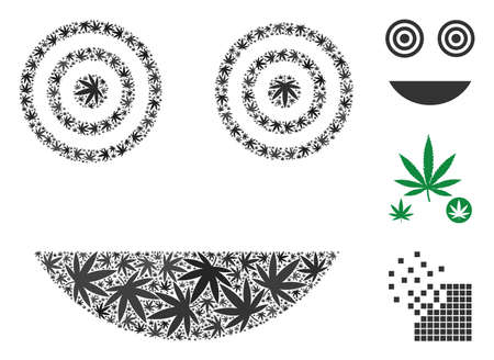 Mad smiley collage of hemp leaves in various sizes and color tinges. Vector flat cannabis leaves are composed into mad smiley illustration. Narcotic vector illustration.